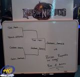 The tournament board showing Graham Somers (Angel Thunder), as the winner of ES-2002's Rise of Nations tournament.